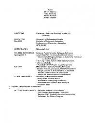 Resume For Teaching Position Template Sample Teacher Resume Elementary School Career Objective For 8