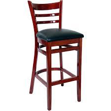 ladder back bar stool mahogany finish with a black vinyl seat