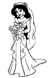 Free Coloring Pages Disney Rapunzel Wedding Gown Jasmine In Wedding