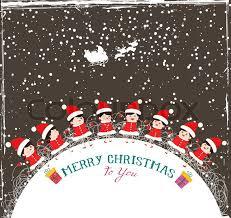 Christmas Kids Background Children In Stock Vector Colourbox