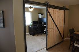 contemporary home office sliding barn. Rustic Top Mount Sliding Barn Door Leading To Home Office Contemporary B