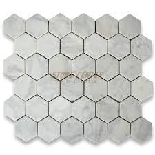 carrara white 2 inch hexagon mosaic tile honed