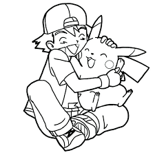pikachu coloring page ash and coloring pages coloring pages ash hug so tight colouring page happy