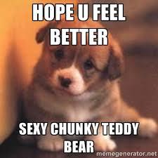 Hope u feel better Sexy Chunky Teddy Bear - cute puppy   Meme ... via Relatably.com