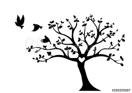 flying birds on tree vector tree with