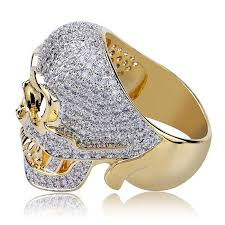 hip hop jewelry iced out skull rings
