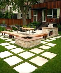 outdoor seating area with fire pit benches and square diy bench ideas