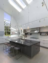 inspiring modern white kitchen decoration using square stainless steel kitchen light track including high ceiling lighting