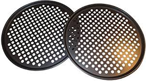 pack of 2 pizza pans with holes 13 inch professional set for restaurant type pizza