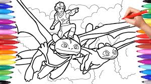 How to train your dragon coloring book. How To Train Your Dragon 3 Coloring Pages Coloring Hiccup And Toothless Scene Dragon Trainers Youtube