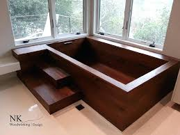 wood bathtub square soaking tub by wooden bathroom diy