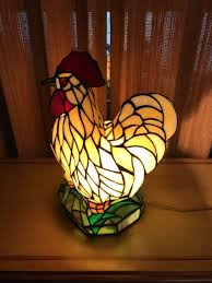 vintage stained glass look tiffany style country rooster en lamp
