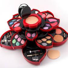 1box flower design multi layer rotating makeup kit 23 eye shadow palette 3 lip gloss 4 blush 3 concealer cosmetics tools