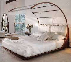 Unique Canopy Bedroom Ideas With White Bedding And Oval Mirror