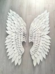 angel wings wall pair of extra large white metal art in decor uk