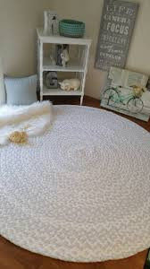 54 x 72 light ash gray and white braided nursery rug from cotton t shirts