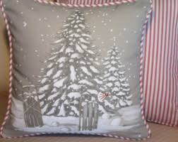 cabin decor lodge sled: winter polar bear pillow lodge decor cabin decor designer pillow paris fabric gray red amp white ticking decorative throw cushion