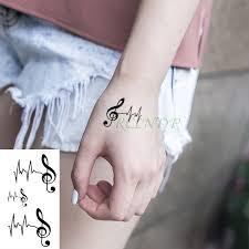 Vodotěsný Dočasné Tetování Nálepka Hudební Poznámka Tep Malé Tatto