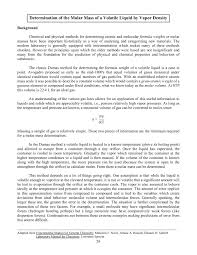 Determination Of The Molar Mass Of A Volatile Liquid By