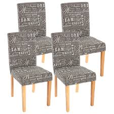 4x Esszimmerstuhl Stuhl Küchenstuhl Littau Textil Mit Schriftzug Grau Helle Beine