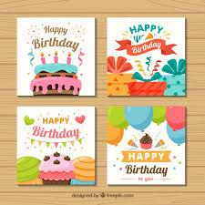 Tajetas De Cumpleanos Conjunto De Cuatro Tarjetas De Cumpleaños Coloridas En