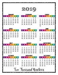 Calendar Year 2019 Printable 2019 Printable Big Mambi Happy Color Calendar Insert Happy Mambi