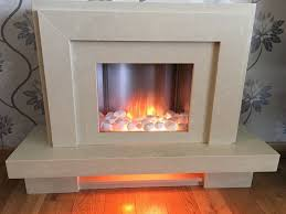 modern marble cream beige fire surround with real flame electric fire