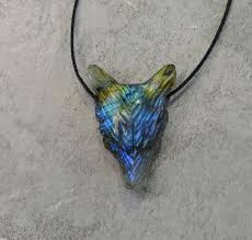customized labradorite wolf high quality labradorite pendant animal jewelry