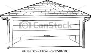 outline partially open door garage csp25407780