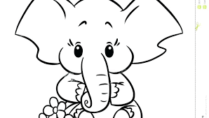 Cartoon Elephant Outline Coloring Pages Halloween For Boys Kids