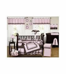 sweet jojo designs hotel pink brown 9 piece crib bedding set