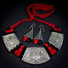 german silver triple pendant necklace earrings set zoom