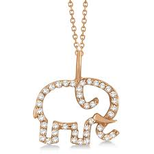 elephant diamond pendant necklace 14k rose gold 0 22ct