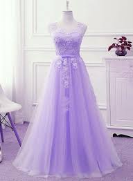 <b>Charming</b> Lavender Tulle Bridesmaid Dress with <b>Lace Applique</b> ...
