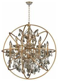 foucault s orb chandelier 13 light gold finish with matte gold cage