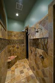 multiple shower heads and bench