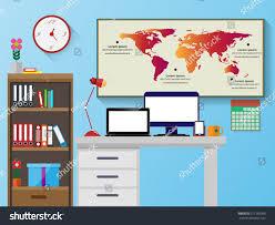 office desk with bookshelf. Vector Office Desk Bookshelves Computer Flat Stock 571259386 - Shutterstock With Bookshelf