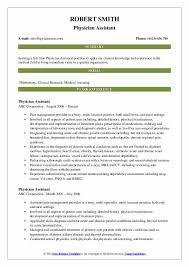 Physician Assistant Sample Resume Physician Assistant Resume Samples Qwikresume