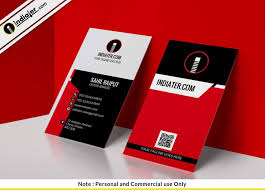 Free Modern Simple Red Vertical Business Card Psd Template