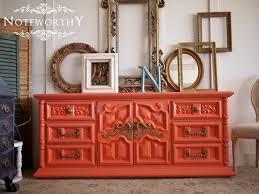 coral furniture. Coral Buffet, Orange Painted Furniture, Tangerine Dresser, Media Console, Ornate Furniture
