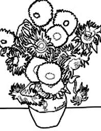 Small Picture Vincent van Gogh Sunflower in Famous Paintings Coloring Page