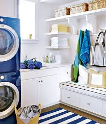 Bright Blue Laundry Room Design