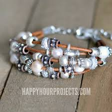 quick inspiration leather pewter bead diy bracelet at happyhourprojects com diy