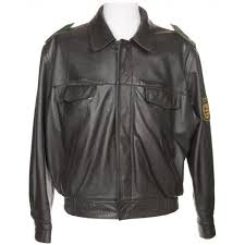 vintage black leather german police biker jacket l