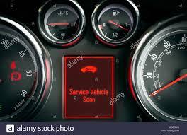 Service Light On Dashboard Service Car Warning Light On A Car Dashboard Stock Photo