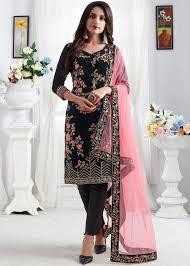 Pink Velvet Suit Design Black Velvet Straight Cut Embroidered Pant Suit