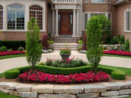Stone Flower Beds Designs Circular Driveway For Front Yard Ideas Landscaping  Of Landscape Design With Fountain