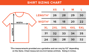 Xl Size Chart Shirt Sizing Charts Loot Crate Help Center