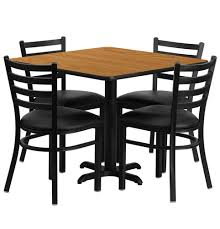 36 inch square natural laminate dining table set with 4 black chairs of1hd1015 gg