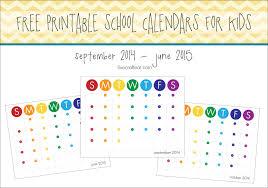 Free Printable School Calendar 2014 2015 School Year Calendar For Kids Free Live Craft Eat